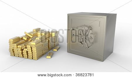 Gold Bars And Safe