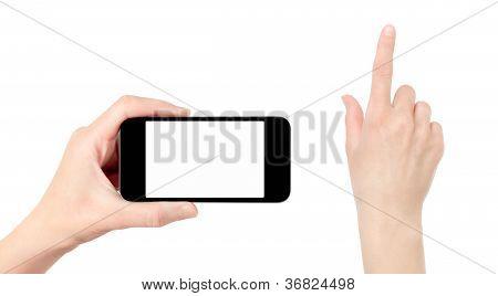 Betriebs-Mobiltelefon mit berühren Hand isoliert