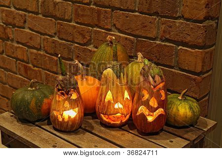 Squashes And Carved Eggplants At Halloween