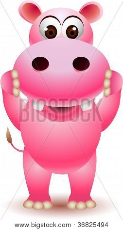 cute pink hippo cartoon
