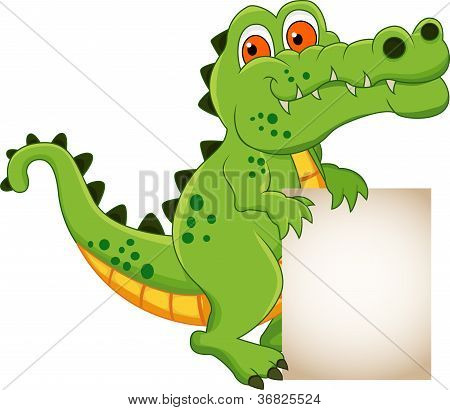 cute crocodile cartoon with blank sign