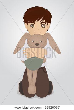 Little boy and plush rabbit