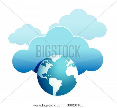 globe cloud computing illustration design over white