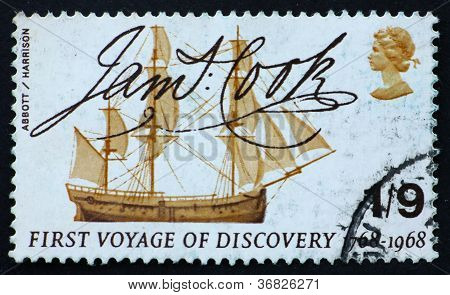 Postage Stamp Great Britain 1968 Captain Cook's Ship Endeavour A