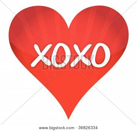xoxo heart illustration design over a white background