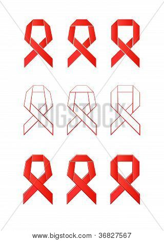 origami sign of a red ribbon