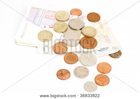 British Pound Coins And Banknotes