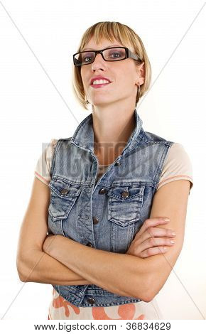 Portait Of Young Woman With Nerdy Glasses And Jeans Jacket