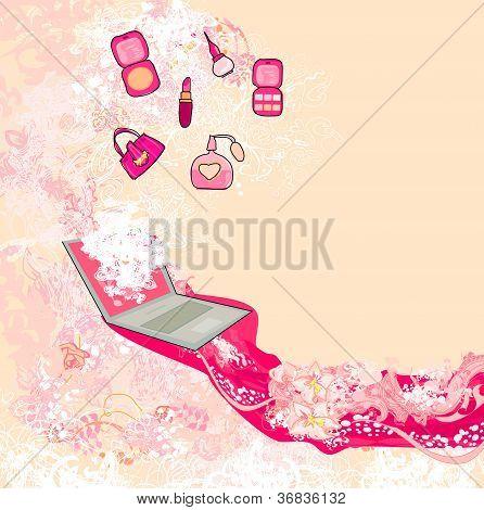 Online-Mode-shopping abstrakte Poster, Vektor-illustration