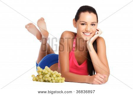 Healthy Nutrition - Young Beautiful Woman With Grape