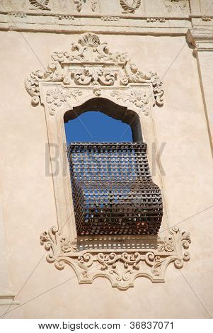 Typical baroque window in Noto