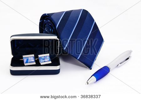 Man Cuff Links In Box Pen And Tie  Isolated