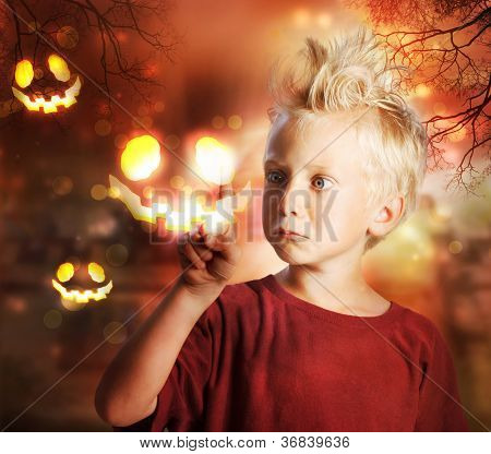 Boy Touching Halloween Ghost
