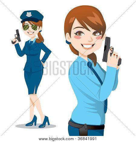 Mulher bonita de polícia