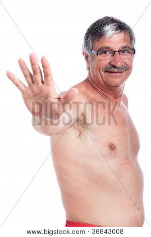 Happy Naked Senior Man Gesturing
