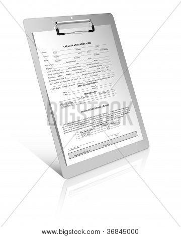 Formulario de solicitud de préstamo de coche