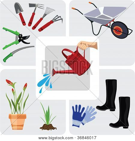 Gardening icons, set vector illustration, color illustration