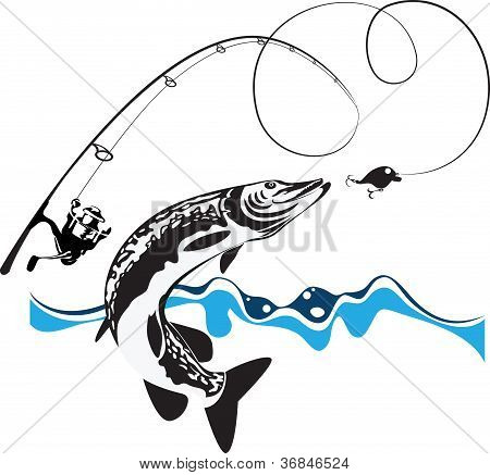 Pike, Spinning, Reel And Wobbler, Stylized Composition