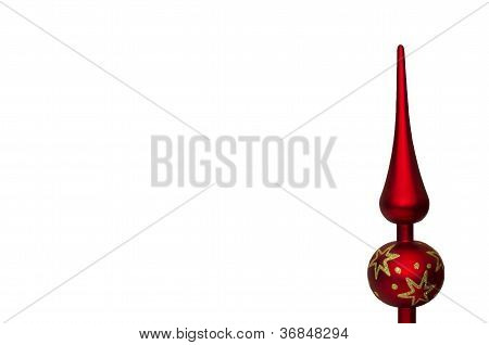 red christmas tree top ornament isolated on white