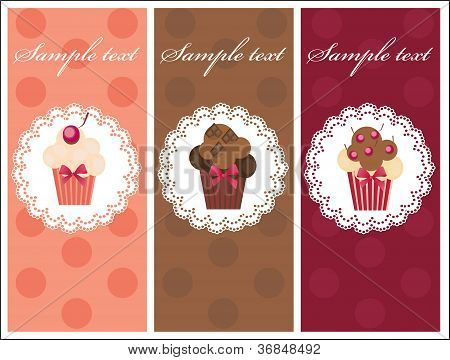 Beautiful card with sweet cupcakes. Dessert set banners design i