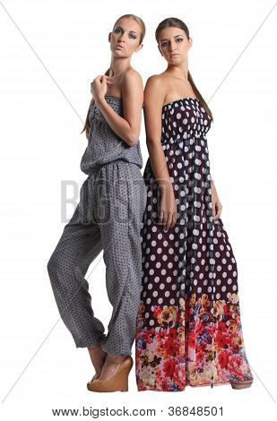 Portrait Of Two Beautiful Fashionable Girls