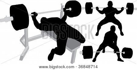 Powerlifting Men Silhouettes On White Background. Push Up, Sit Up And Deadlift Exercises.