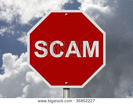 Stop Sign With Word Scam
