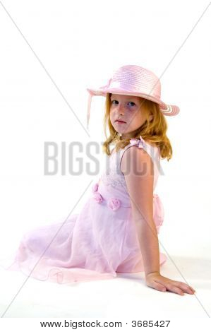 Little Princess Sitting On White Background