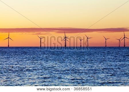Offshore wind farm at sunrise