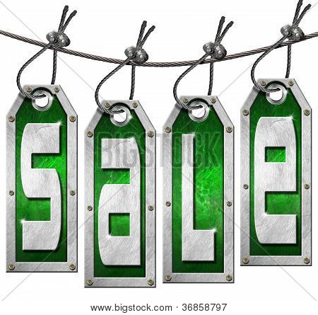 Sale Tags Hanging On White Background