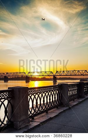 The River Embankment On Sunset
