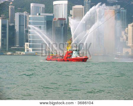Fireboat In Hong Kong City