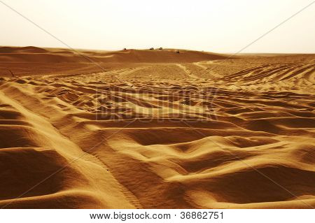 Jeeps on the dunes of Sahara desert