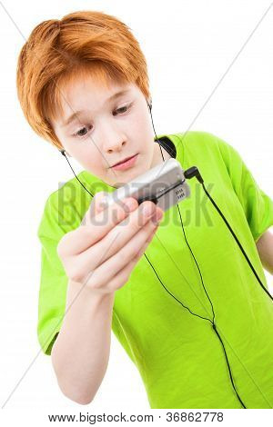 Red Teen Listens To Music