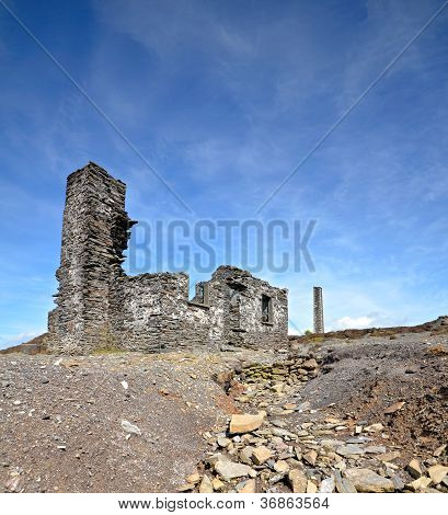 Old Abandoned Ruined House Over Blue Sky