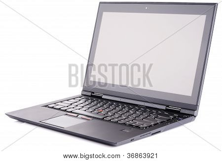 Laptop Over White Bakground