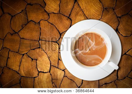 Coffee on old wood