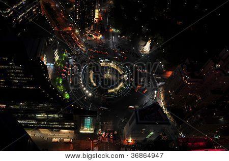 Columbus Circle From Above At Night