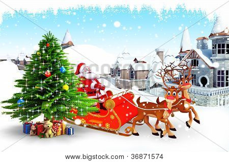 santa with his sleigh and christmas tree