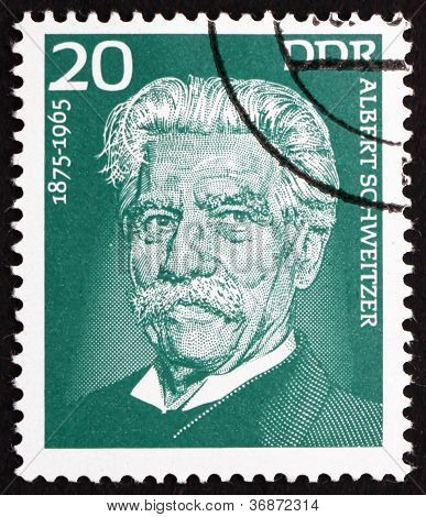 Postage stamp GDR 1975 Albert Schweitzer, Medical Missionary