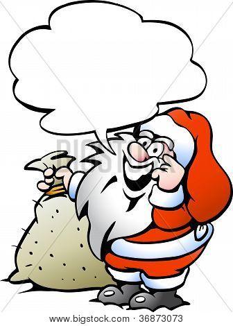Ilustración de Vector dibujado a mano de una Santa feliz con un saco