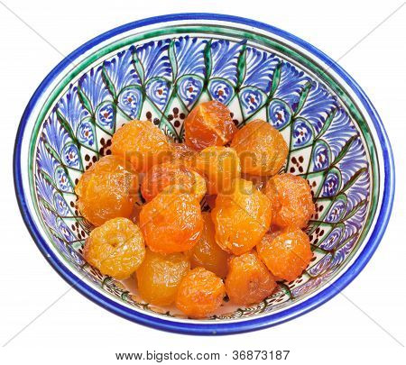 Dried Russet Apple In Traditional Bowl