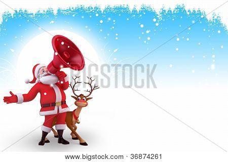 santa with loud speaker and reindeer on blue background