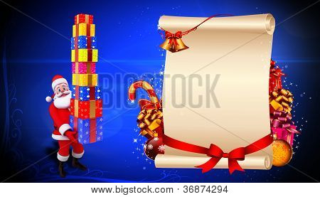 santa with many gifts and sign with golden jingle bell