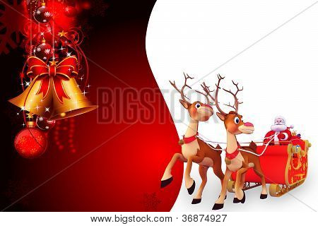 santa and his sleigh on red background with golden jingle bell