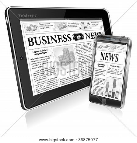 Concept - Digital News. Tablet Pc And Smartphone With Business News
