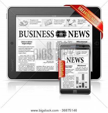 Breaking News Concept - Tablet Pc & Smartphone Business News