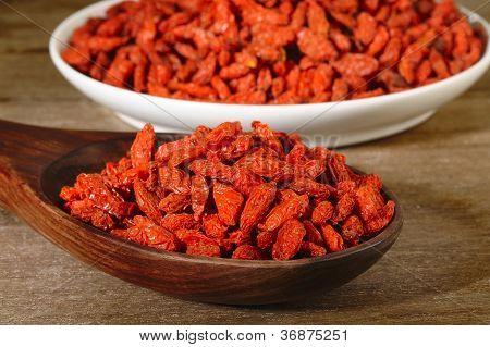 Dried Goji Berries In Spoon