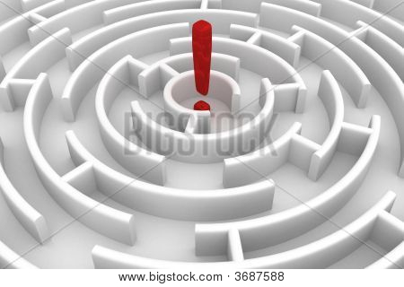 White Circle Labyrinth. 3D Image.