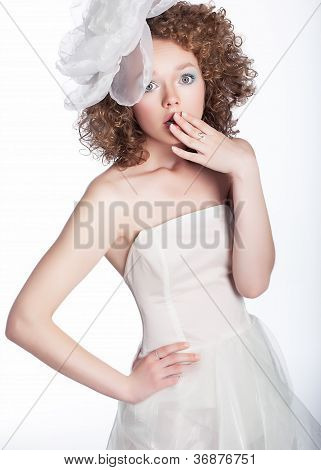 Lovely Girl Bride With White Bow Posing - Series Of Photos